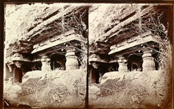 View from the right of the façade of Budhhist vihara, Cave VII, Ajanta